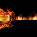 gibson guitar on fire